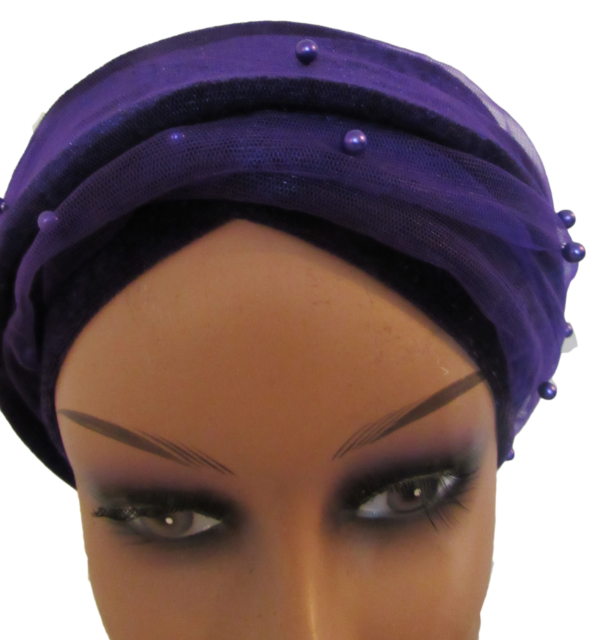 Purple beaded turban