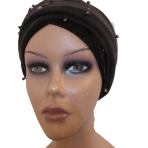 Brown beaded turban