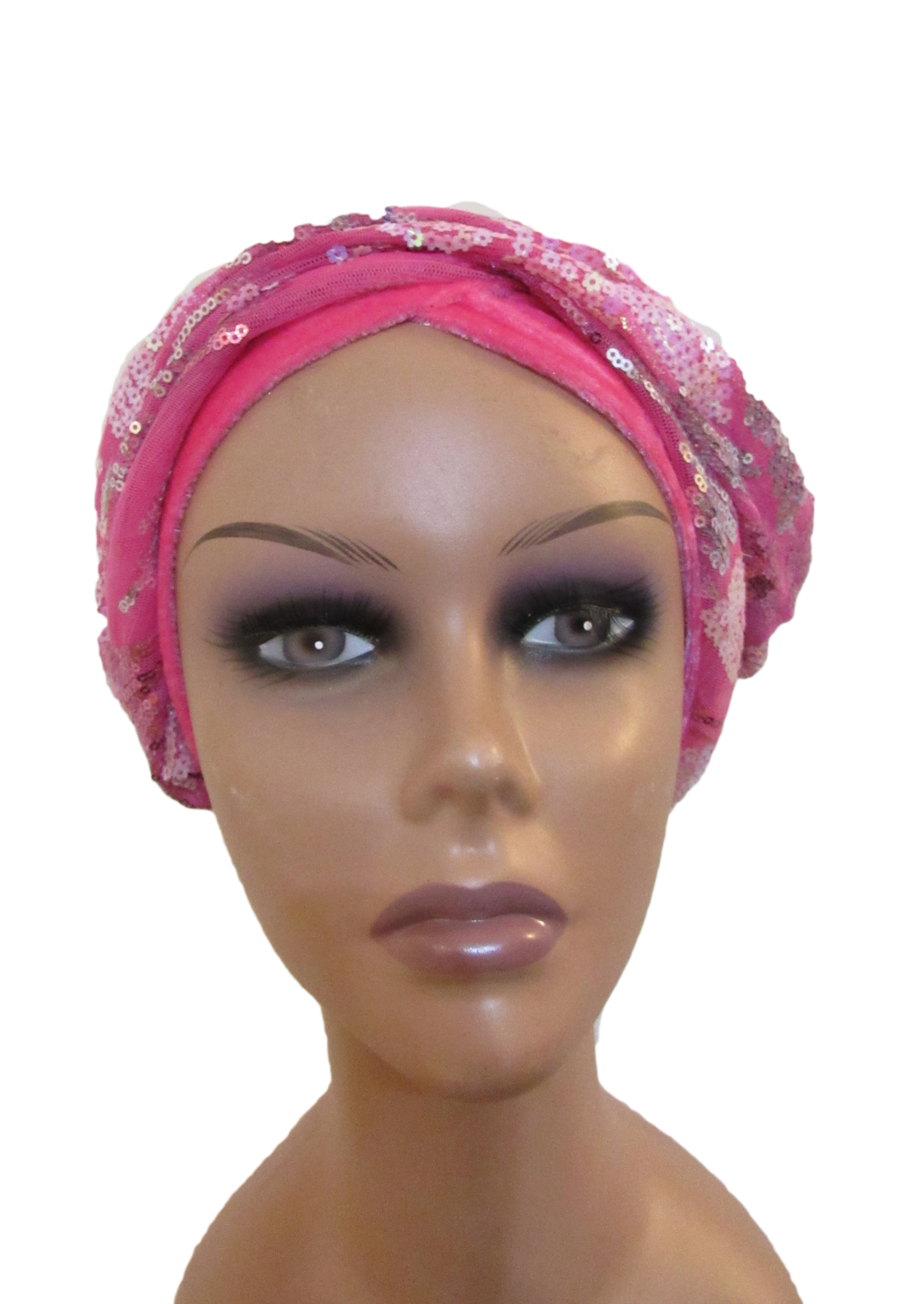 Turban Fascinator – Pink with Sequins  e3034c97995