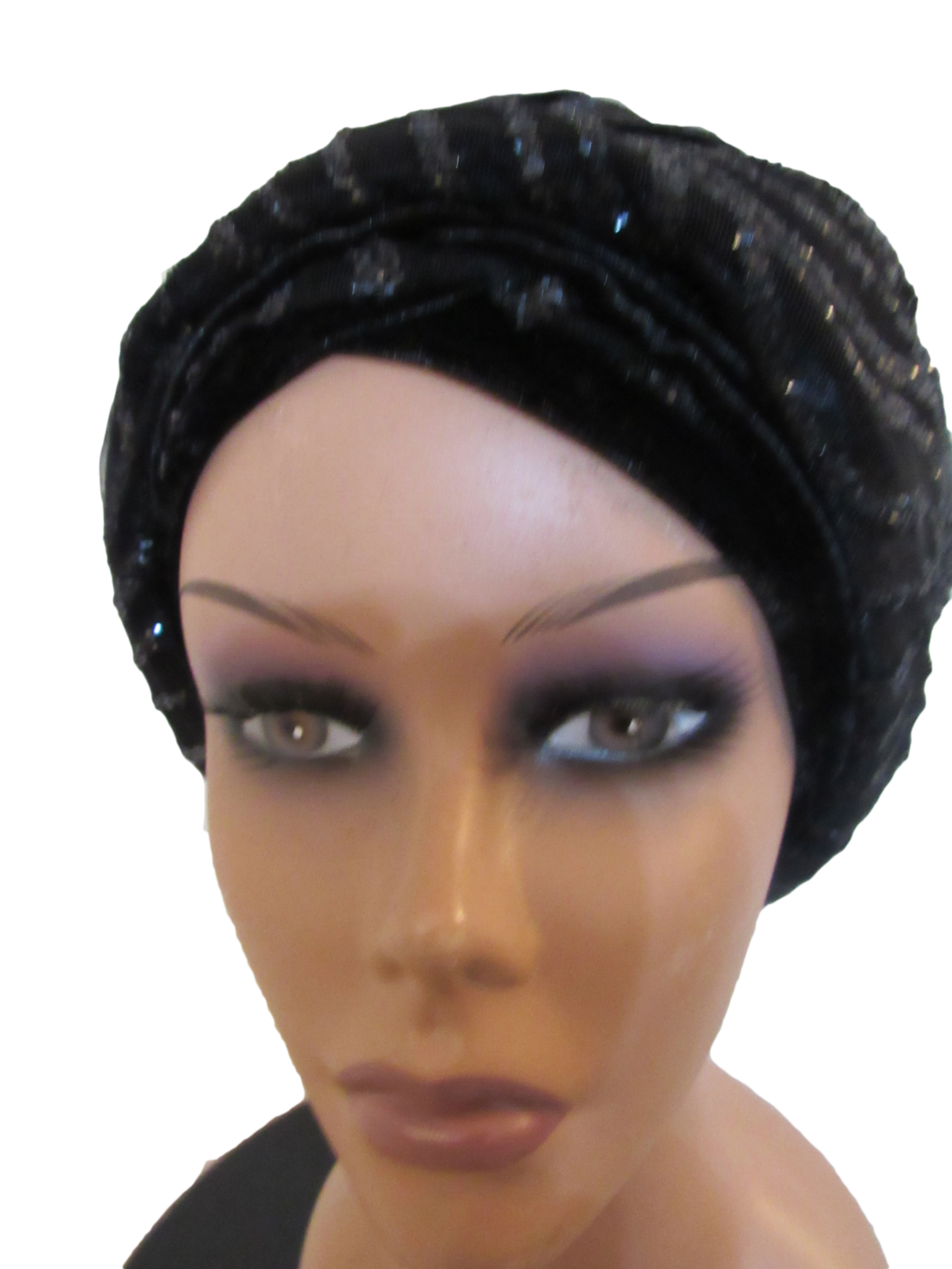 Turban  Fascinator – Black with sequins  f3e9bff2724