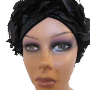 black turban feathers