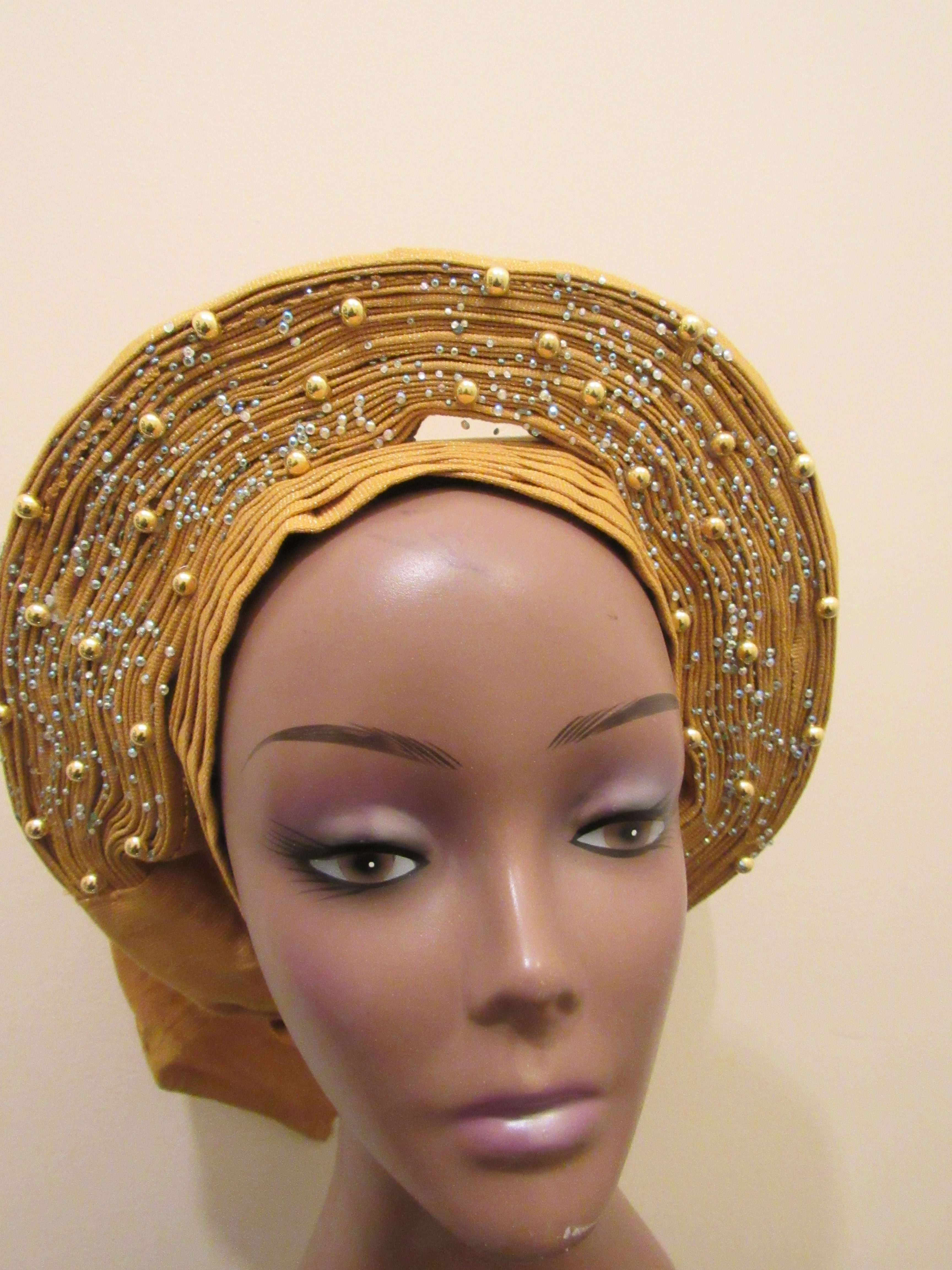 Gold African Auto Gele One size Head Tie 1022756a836
